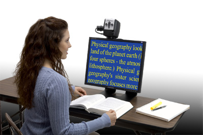Low Vision - Low Vision student using the acrobat low vision magnifier